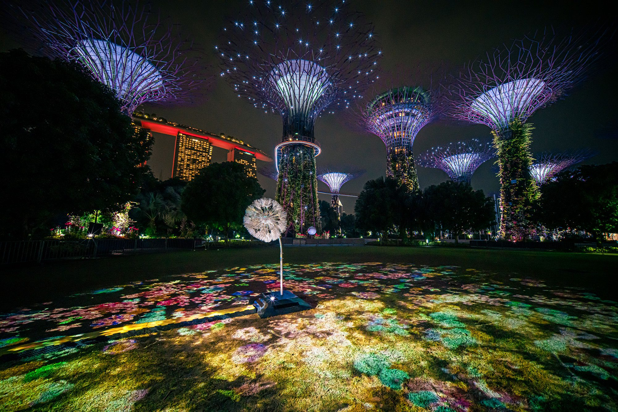 dandelion multimedia installation at Gardens by the Bay